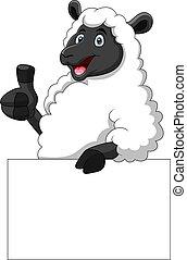 Cartoon funny sheep holding blank sign