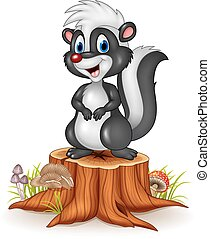Cartoon funny skunk on tree stump