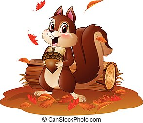 Cartoon funny squirrel holding pine