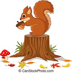 Cartoon funny squirrel holding pine cone on tree stump - ...