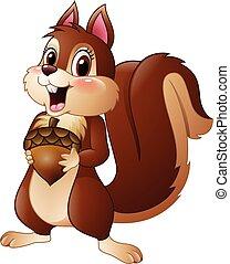 Cartoon funny squirrel holding pine - Vector illustration of...