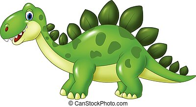 Cartoon funny Stegosaurus mascot - Vector illustration of...