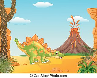 Cartoon funny stegosaurus posing