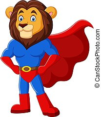 Cartoon funny superhero lion posing