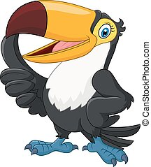 Cartoon funny toucan giving thumb u