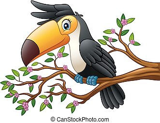 Cartoon funny toucan on a tree branch