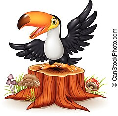 Cartoon funny toucan on tree stump
