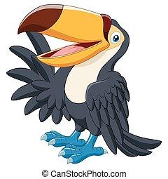 Cartoon funny toucan waving - Vector illustration of Cartoon...