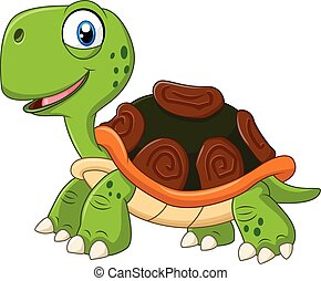 Cartoon funny turtle isolated