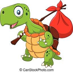 Cartoon funny turtle traveling