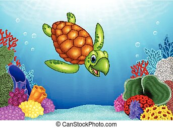 Cartoon funny turtle