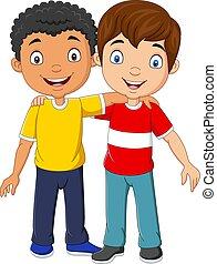 Cartoon funny two little boys hugging - Vector illustration ...