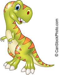 Cartoon funny tyrannosaurus isolate - Vector illustration of...