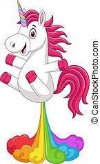 Vector illustration of Cartoon funny unicorn horse with rainbows fart