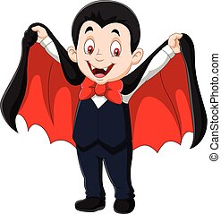 Cartoon funny vampire isolated on white background - Vector...