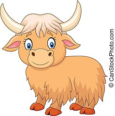 Cartoon funny yak isolated - Vector illustration of Cartoon...