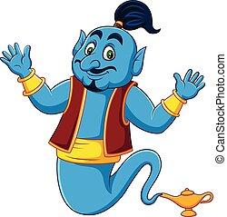Cartoon Genie coming out of gold magic lamp