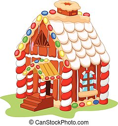 Cartoon gingerbread house - Vector illustration of Cartoon ...