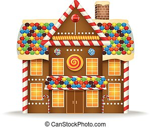 Cartoon gingerbread house - Vector illustration of Cartoon...