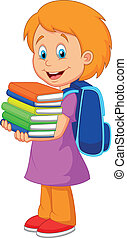 Cartoon girl bring pile of books - Vector illustration of ...