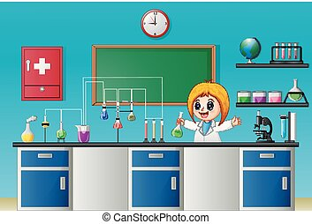 Cartoon girl doing chemical experiment in the laboratory
