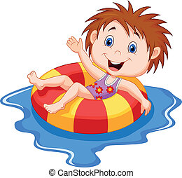 Cartoon Girl floating on an inflata - Vector illustration of...