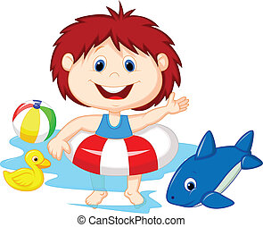 Cartoon Girl floating with inflatab - Vector illustration of...