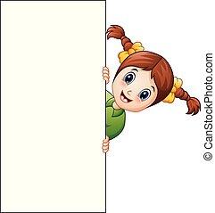 Cartoon girl holding blank sign