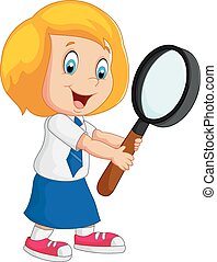 Vector illustration of Cartoon girl holding magnifer