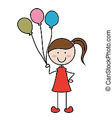 Cartoon girl icon with balloon