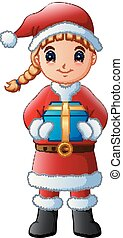 Cartoon girl in a Santa Claus costume holding gift
