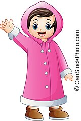 Cartoon girl in pink winter jacket waving - Vector...