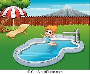 Cartoon girl jumping in swimming pool