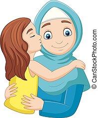 Cartoon girl kissing her mother's cheek