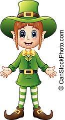 Cartoon girl leprechaun presenting