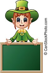 Cartoon girl Leprechaun presenting with chalkboard sign