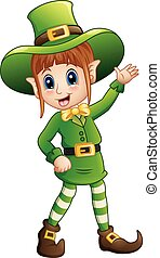 Cartoon girl leprechaun waving