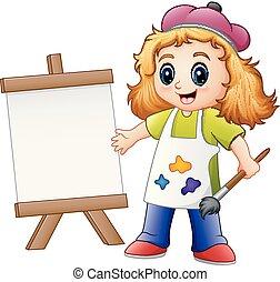 Cartoon girl painting