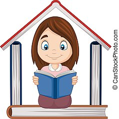 Cartoon girl reading a book with pile of books forming a house