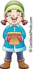 Cartoon girl singing Christmas carols