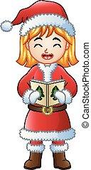 Cartoon girl singing Christmas carols isolated on white background