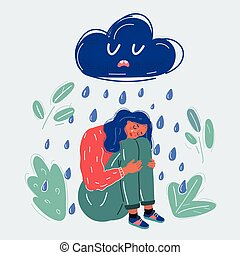 Vector illustration of Cartoon Girl under rainy clouds