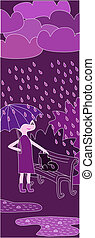 cartoon girl walking in the rain