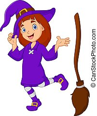 Cartoon girl witch with a broom