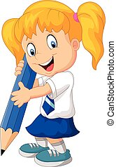 Cartoon girl with pencil - Vector illustration of Cartoon ...