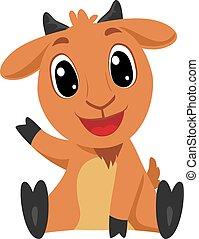 Vector Illustration of Cartoon Goat in sitting position