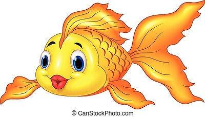 Vector illustration of Cartoon Goldfish on Transparent Background
