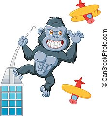 Cartoon gorilla above the building - Vector illustration of ...