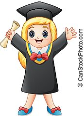 Cartoon graduate girl with diploma