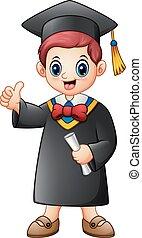 Cartoon graduation boy giving thumbs up